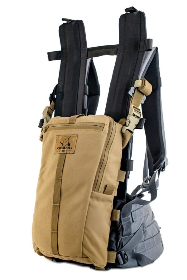 Sherman Pocket Xpac Diagonal Photo of Coyote Brown Color Attached to Pack