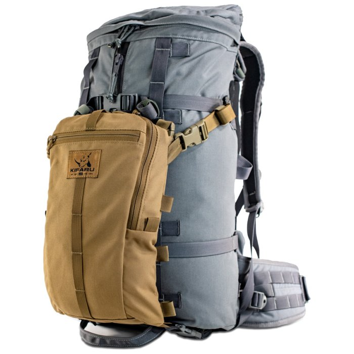 Sherman Pocket Xpac Diagonal Photo of Coyote Brown Color Attached to Wolf Gray Pack